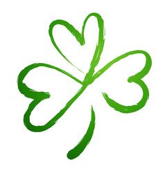 green gradient silhouette of the shamrock clover vector image