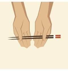 Hand with chopsticks vector