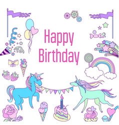 Happy birthday card with unicorn cake ballons vector