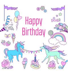 Happy birthday card with unicorn cake ballons vector