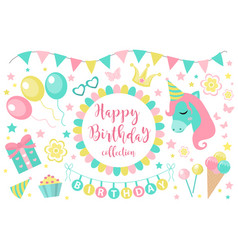 Happy birthday modern cute icons set cartoon flat vector