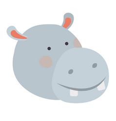 Hippopotamus cartoon head colorful silhouette in vector