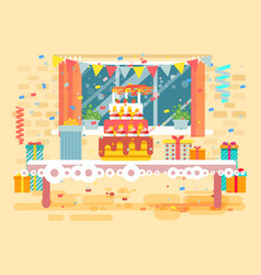 Huge festive cake with candles vector