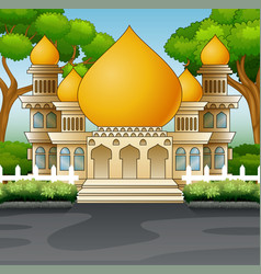 Islamic mosque building with a green plants vector