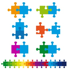 Jigsaw puzzle set vector