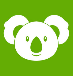 koala icon green vector image