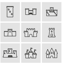 line castle icon set vector image vector image