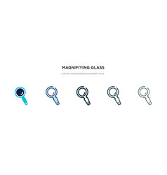 magnifying glass icon in different style two vector image