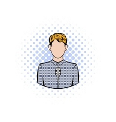 Man with microphone comics icon vector image