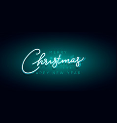 merry christmas and happy new year neon sign xmas vector image