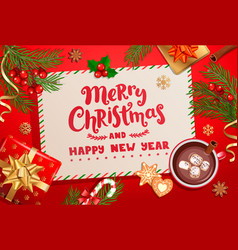 merry year card for winter holidays vector image