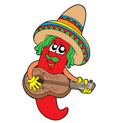 mexican chilli guitar player vector image