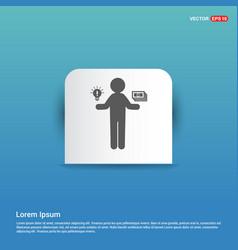 money in hand icon - blue sticker button vector image