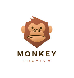 monkey chimp gorilla flat logo icon vector image