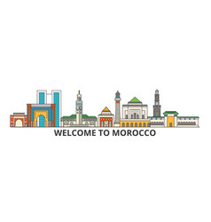 Morocco outline skyline moroccan flat thin line vector
