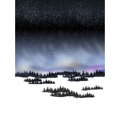 mountain snow night landscape with nordic shine vector image