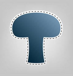 Mushroom simple sign blue icon with vector