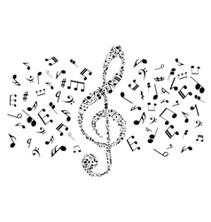 Musical notes and symbols in shape of treble clef vector