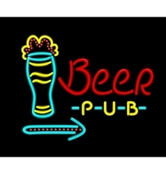 Neon sign beer pub on a black background vector