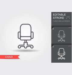 office chair line icon with editable stroke with vector image