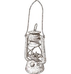 old kerosene lamp vector image
