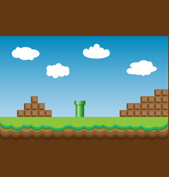 Old retro video game super mario bros background vector