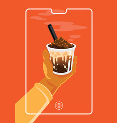 online marketing photo with chocolate milk with vector image