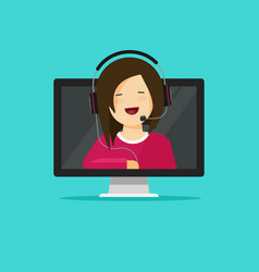 Online support assistant flat vector