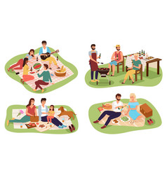 picnic people happy groups young women and vector image