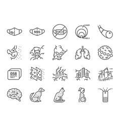 Pm25 air pollution line icon set vector