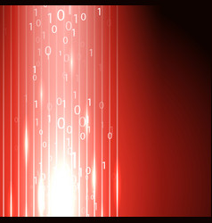 Red background with stream of binary code vector