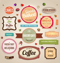 Retro Bakery Label Sets vector image