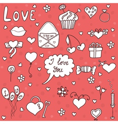 Romantic set in cartoon style vector image