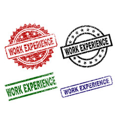 scratched textured work experience seal stamps vector image