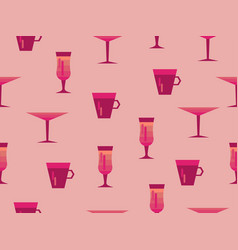 seamless pattern with glasses of cocktails vector image