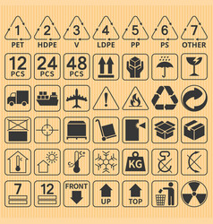 Set of packaging symbol collection vector