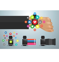Smartwatch social media networks user interface vector image