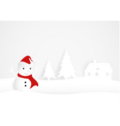 snowman in paper art and craft style vector image