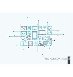 Social media integrated thin line symbols vector