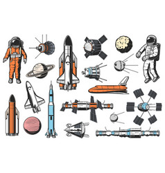 Space and astronomy retro icons set vector