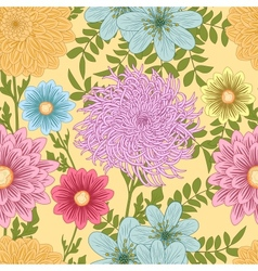 Summer seamless pattern with daisy chrysanthemum vector