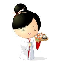 Sushi girl vector