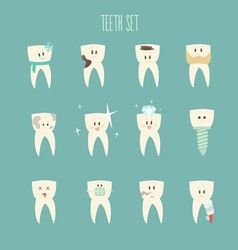 Teeth icon set concept healthy vector