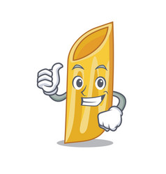 Thumbs up penne pasta character cartoon vector