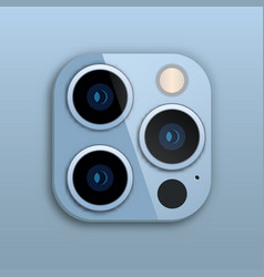 Triple lens camera on iphone vector