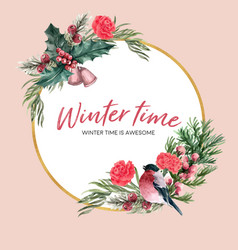 Winter bloom wreath design with bird floral vector