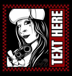 Women wearing hat holding gun vector