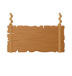 wooden hanging board wood empty signboard on rope vector image
