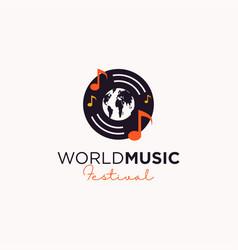 World music festival logo design vector
