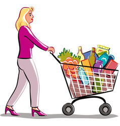 Young woman in a supermarket vector
